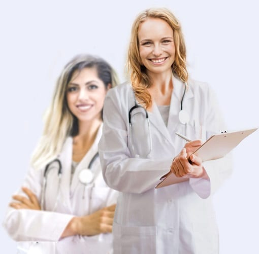 Two female telemedica telehealth telemedicine doctors in white lab coats and stethoscopes write nexus letters for veterans